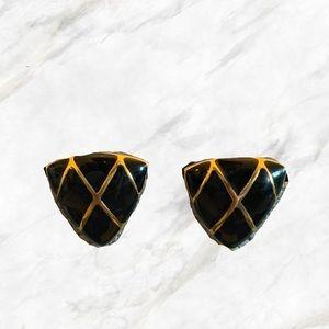 4/$30 🍂 Vintage | Bulky Black Triangle Earrings